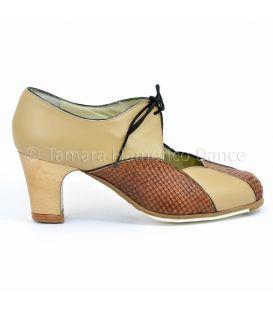 zapatos de flamenco profesionales de mujer - Begoña Cervera - acuarela cordonera camel diseño 01