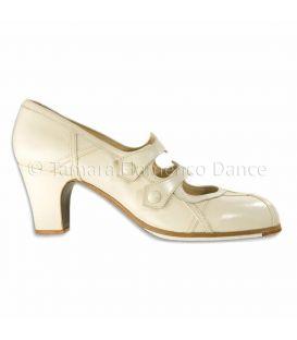 zapatos de flamenco profesionales de mujer - Begoña Cervera - Barroco piel blanco
