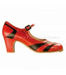 zapatos de flamenco profesionales de mujer - Begoña Cervera - bicolor piel rojo-negro