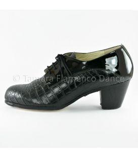 zapatos de flamenco para hombre - Begoña Cervera - Blucher caballero negro piel coco y charol lateral
