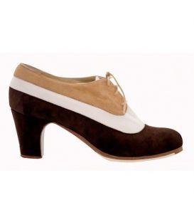 zapatos de flamenco profesionales de mujer - Begoña Cervera - Blucher tricolor ante marron