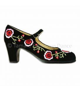 zapatos de flamenco profesionales de mujer - Begoña Cervera - Bordado correa II negro ante