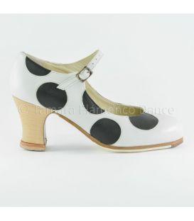 zapatos de flamenco profesionales de mujer - Begoña Cervera - Lunares piel blanco-negro lateral
