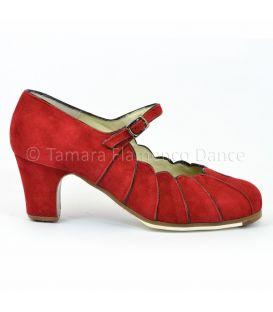 zapatos de flamenco profesionales de mujer - Begoña Cervera - zapato de flamenco begoña cervera acuarela rojo ante