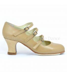 zapatos de flamenco profesionales de mujer - Begoña Cervera - zapato de flamenco begoña cervera 3 correas beig