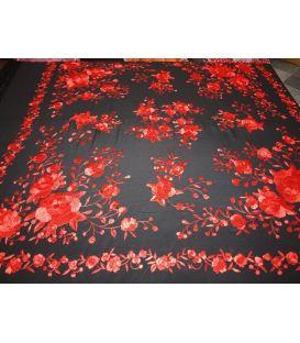 manila shawls - - Manila Shawls Floral Black with red
