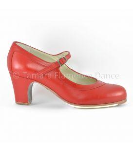 zapatos de flamenco profesionales de mujer - Begoña Cervera - Salon Correa piel rojo