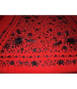 Manton de Manila Rojo con negro ( Pájaros)
