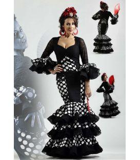 trajes de flamenca 2016 - Roal - alborea negro lunares blancos