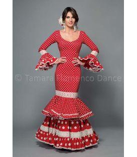 trajes de flamenca 2016 mujer - Aires de Feria - Maestranza rojo lunares blancos