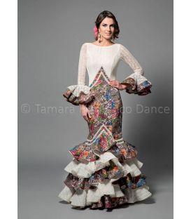 trajes de flamenca 2016 mujer - Aires de Feria - Veronica blanco y estampado
