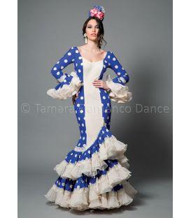trajes de flamenca 2016 mujer - Aires de Feria - Manuela blanco y azul lunares