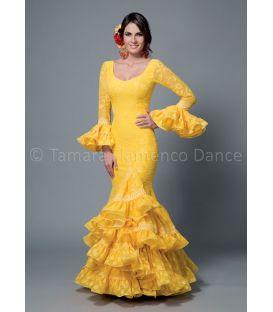 trajes de flamenca 2016 mujer - Aires de Feria - Sofia encaje amarillo