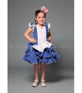 trajes de flamenca 2016 nina - Aires de Feria - Encanto azul y blanco