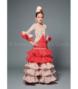 trajes de flamenca 2016 nina - Aires de Feria - Melodia rojo y blanco