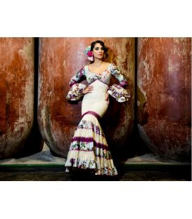 trajes de flamenca 2016 mujer - Aires de Feria - Soleares beige y cardenal artistica
