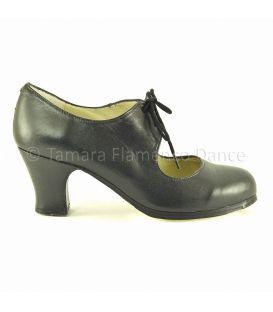 Cordonera black leather carrete heel