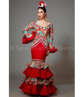 trajes de flamenca 2016 mujer - Aires de Feria - Bahía estampado y rojo