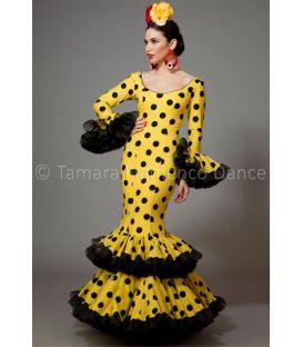 trajes de flamenca 2016 mujer - Aires de Feria - Copla amarillo lunares negros