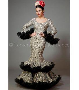 trajes de flamenca 2016 mujer - Aires de Feria - Copla gris y negro estampado