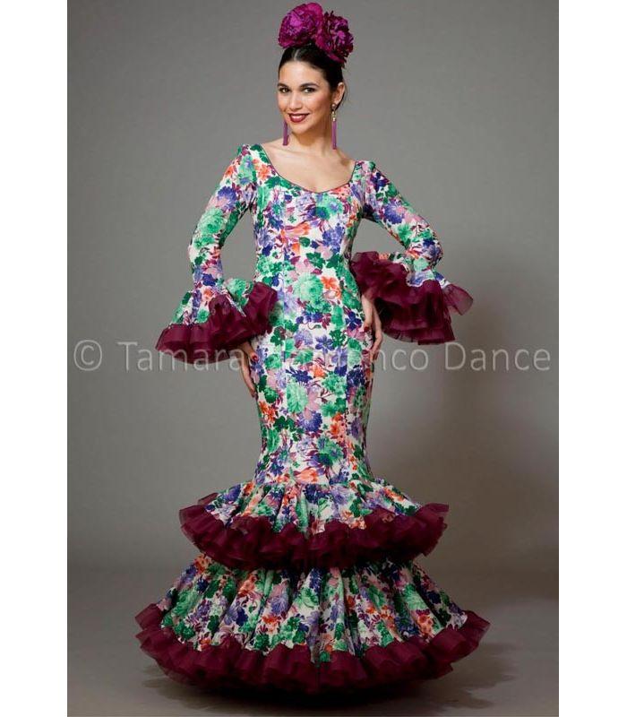 trajes de flamenca 2016 mujer , Aires de Feria , Copla estamapado flores