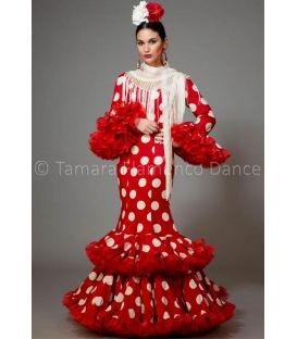 trajes de flamenca 2016 mujer - Aires de Feria - Copla rojo con lunares blancos