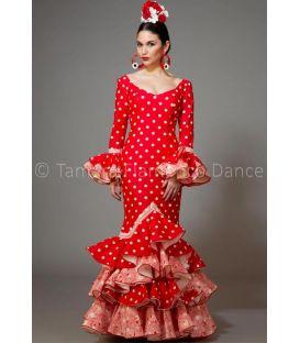 trajes de flamenca 2016 mujer - Aires de Feria - Feria rojo con lunares blancos y estampado