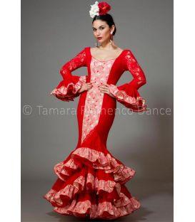 trajes de flamenca 2016 mujer - Aires de Feria - Manuela encaje rojo y estampado