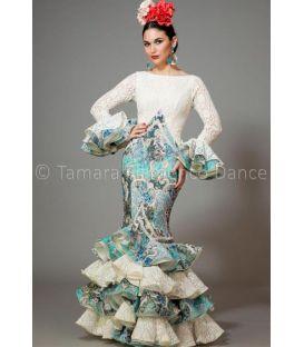 trajes de flamenca 2016 mujer - Aires de Feria - Veronica blanco y estampado agua marina