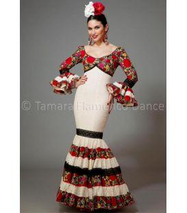 trajes de flamenca 2016 mujer - Aires de Feria - Soleares blanco y negro con flores