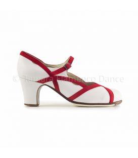 zapatos de flamenco profesionales de mujer - Begoña Cervera - Arco II piel blanco con ante rojo
