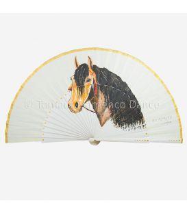 Abanico español con caballo pintado a mano