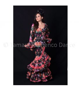 Flamenca negro flores fuxia