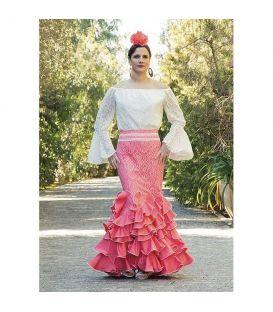 Conjunto Cristina Blanco y Rosa (falda + blusa)