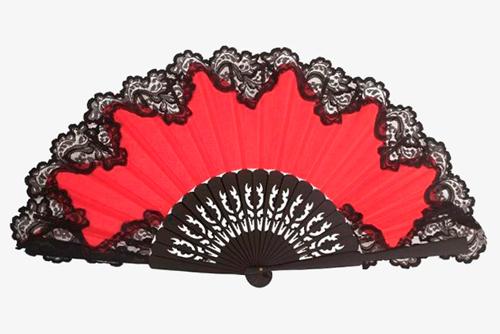 abanico encaje negro y rojo