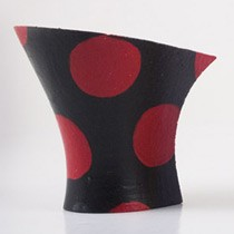 Hand painted: red polka dots